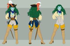 Captain Khleo, Water Genasi - Concept Art - UriellActaea, 2D Artist and Illustrator