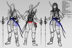 Turnaround sketches - Erevan, Wood Elf Rogue/Fighter - Concept Art - UriellActaea, Concept Artist and Illustrator