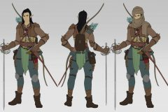 Turnaround in flat colors - Erevan, Wood Elf Rogue/Fighter - Concept Art - UriellActaea, Concept Artist and Illustrator