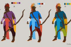 Color iterations - Ishi, Fire Genasi Monk - Concept Art - UriellActaea, 2D Artist and Illustrator