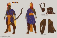 Final look, front and back - Ishi, Fire Genasi Monk - Concept Art - UriellActaea, 2D Artist and Illustrator