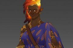 Ishi, Fire Genasi Monk - Concept Art - UriellActaea, 2D Artist and Illustrator