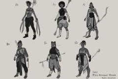 Sketches and styles iterations - Ishi, Fire Genasi Monk - Concept Art - UriellActaea, 2D Artist and Illustrator