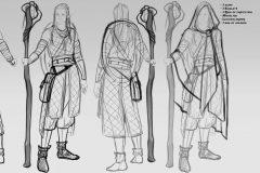 Turnaround sketches - Mooshyi, Wood Elf Druid - Concept Art - UriellActaea, Concept Artist and Illustrator