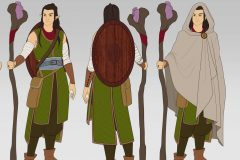Turnaround in flat colors - Mooshyi, Wood Elf Druid - Concept Art - UriellActaea, Concept Artist and Illustrator