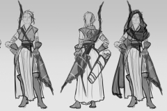Turnaround sketches - Thia, Wood Elf Ranger - Concept Art - UriellActaea, Concept Artist and Illustrator
