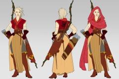 Turnaround in flat colors - Thia, Wood Elf Ranger - Concept Art - UriellActaea, Concept Artist and Illustrator