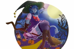 Witch Jester, Halloween - Critical Role Fan Art - UriellActaea, 2D Artist and Illustrator