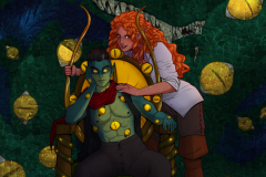 Critical Role Fan Art -Captain Avantika and Possessed!Fjord in front of an Uk'otoa painting - UriellActaea, 2D Artist and Illustrator