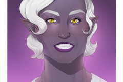 Ashera - Drow paladin of radiance, portrait - DnD Character Illustration - UriellActaea, 2D Artist and Illustrator