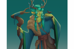 Atecius - Tiefling Druid - DnD Character Illustration - UriellActaea, 2D Artist and Illustrator