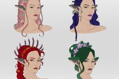 Talanah - Eladrin Ranger - DnD Character - Hairstyles Variations - UriellActaea, Concept Artist and Illustrator