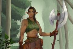 Morta - Firbolg Barbarian - DnD Character Illustration - UriellActaea, Concept Artist and Illustrator