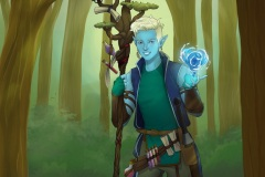Caspian - Water Genasi Druid - DnD Character Illustration - UriellActaea, 2D Artist and Illustrator