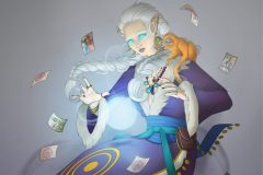 Sylaise Sulevin - Elf witch fortune teller - Pathfinder Character Illustration - UriellActaea, 2D Artist and Illustrator