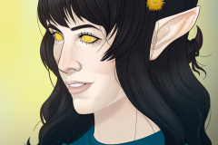 Tiefling Cleric - DnD character portrait Illustration - UriellActaea, 2D Artist and Illustrator