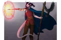 Nexori - Tiefling Warlock - DnD Wildemount Character Illustration - UriellActaea, 2D Artist and Illustrator